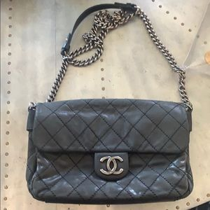 Chanel calfskin chained flap bag
